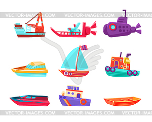 Water Transport Toy Boats Set.