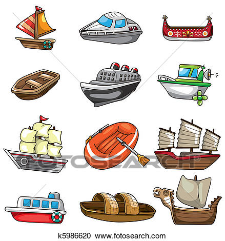 Cartoon boat icon Clipart.