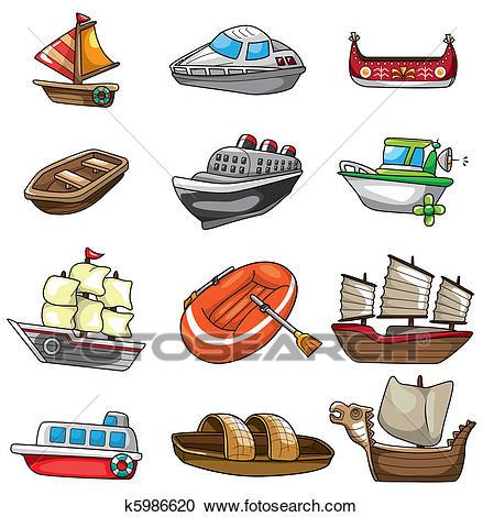 Cartoon boat icon Clipart.