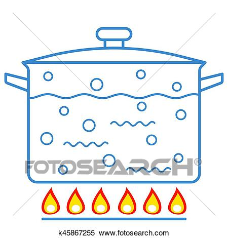 Boiling water in pan Clipart.