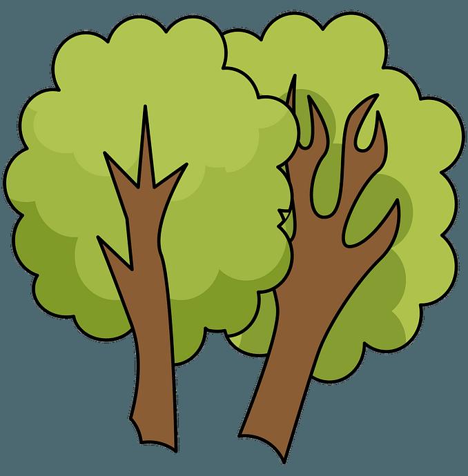 Twee bomen clipart. Gratis download..