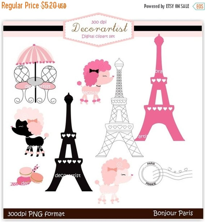 ON SALE clipart , French poodle digital clipart, bonjour Paris, french  style, paris..