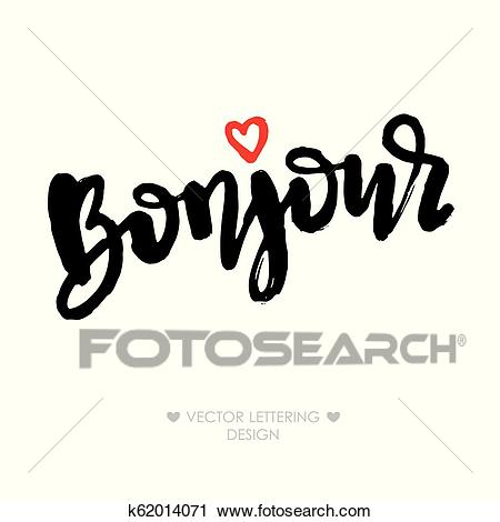 Bonjour lettering phrase with small red heart Clipart.
