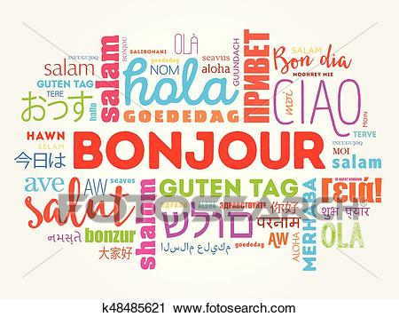 Bonjour (Hello Greeting in French) word cloud Clipart.