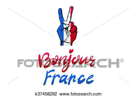 Hand victory for France vector bonjour Clipart.