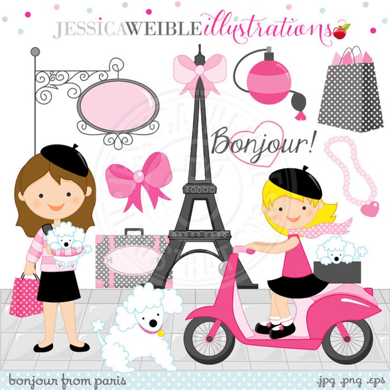 Bonjour From Paris Cute Digital Clipart.