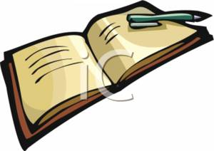 Clipart Picture of a Book and Pen.