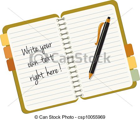 Clip Art Vector of Note book with a pen and sample text, replace.