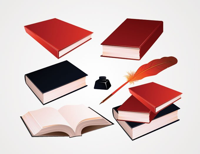 Book Vector and Feather Ink Pen Clip Art (Free), vector file.