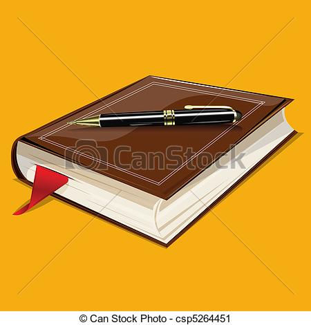 Clip Art Vector of Book and pen.