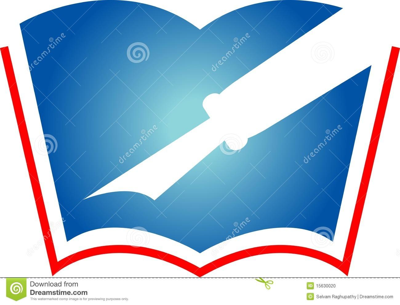 Pen With Book Logo Stock Photos.