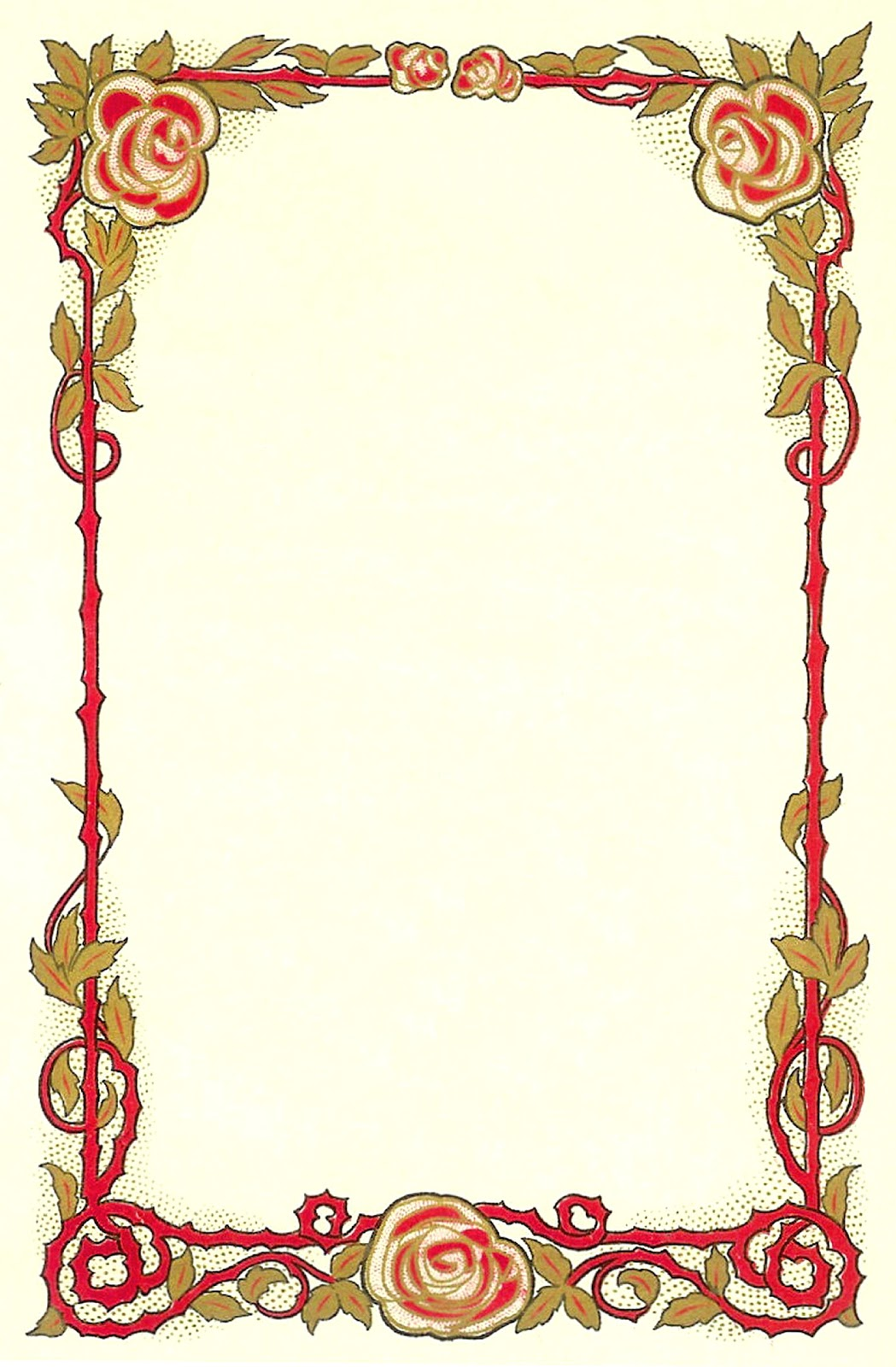 Antique Images: Flower Clip Art: Vintage Graphic of Red Rose Frame.