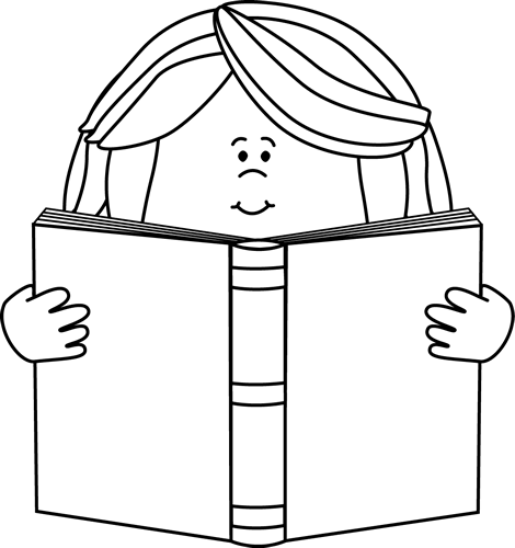 Black and White Girl Reading a Book Clip Art.