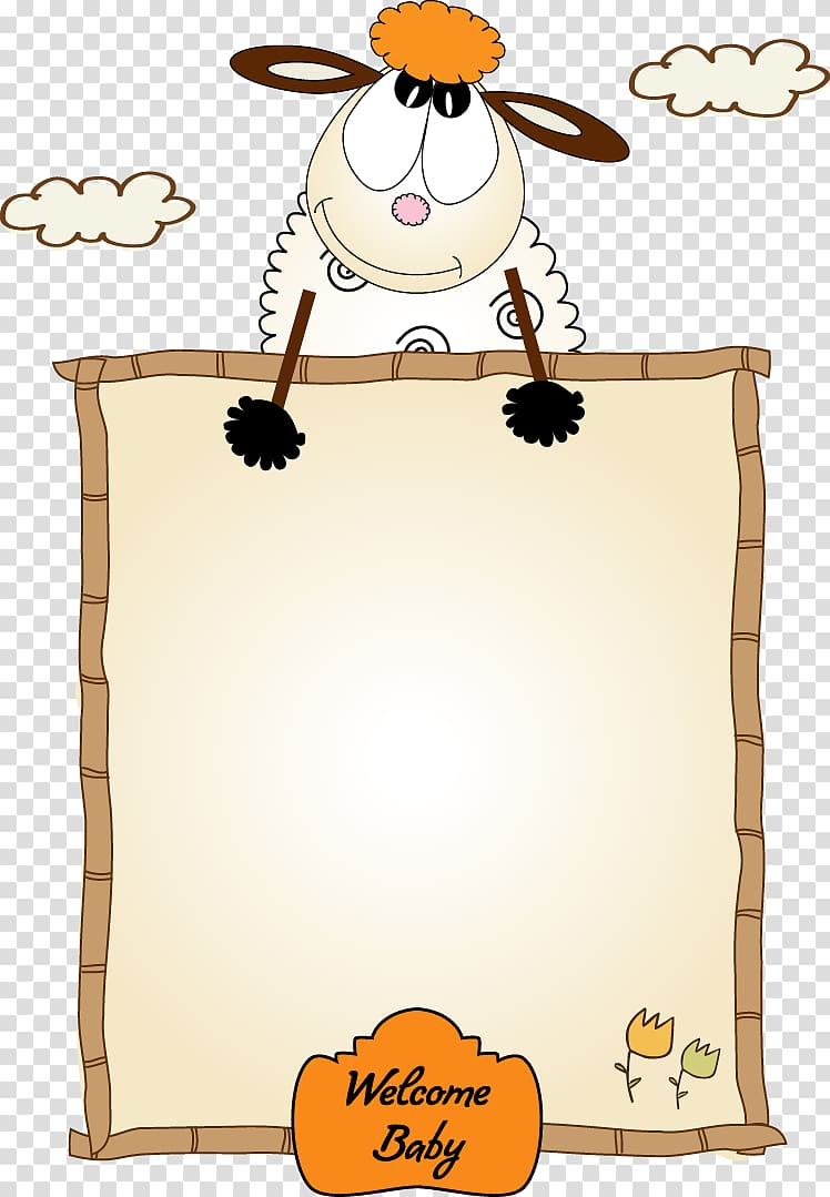 Sheep illustration, frame Cartoon , Cute lamb border.