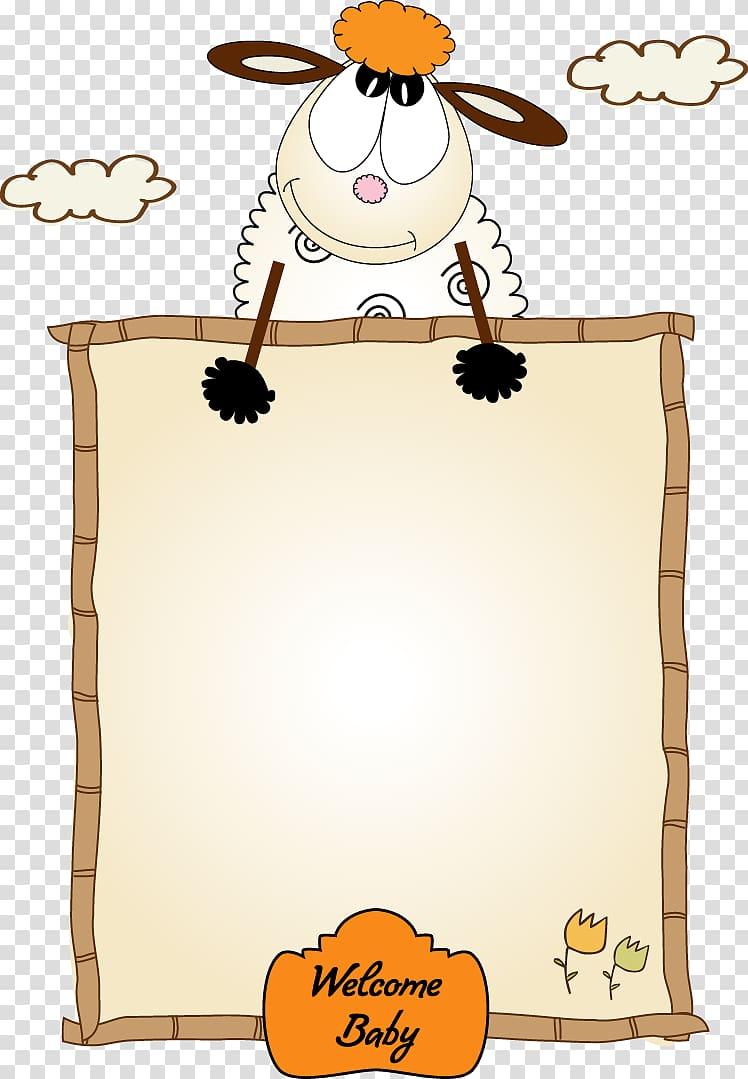 Sheep illustration, frame Cartoon , Cute lamb border.
