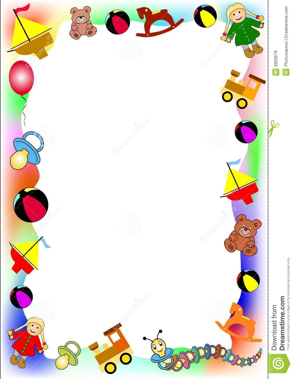 Baby Toys Clipart Borders.