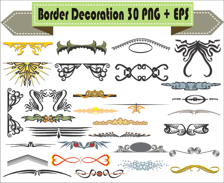 Tribal Border Vintage Corner Retro Vector Clipart PNG EPS PSD Set.