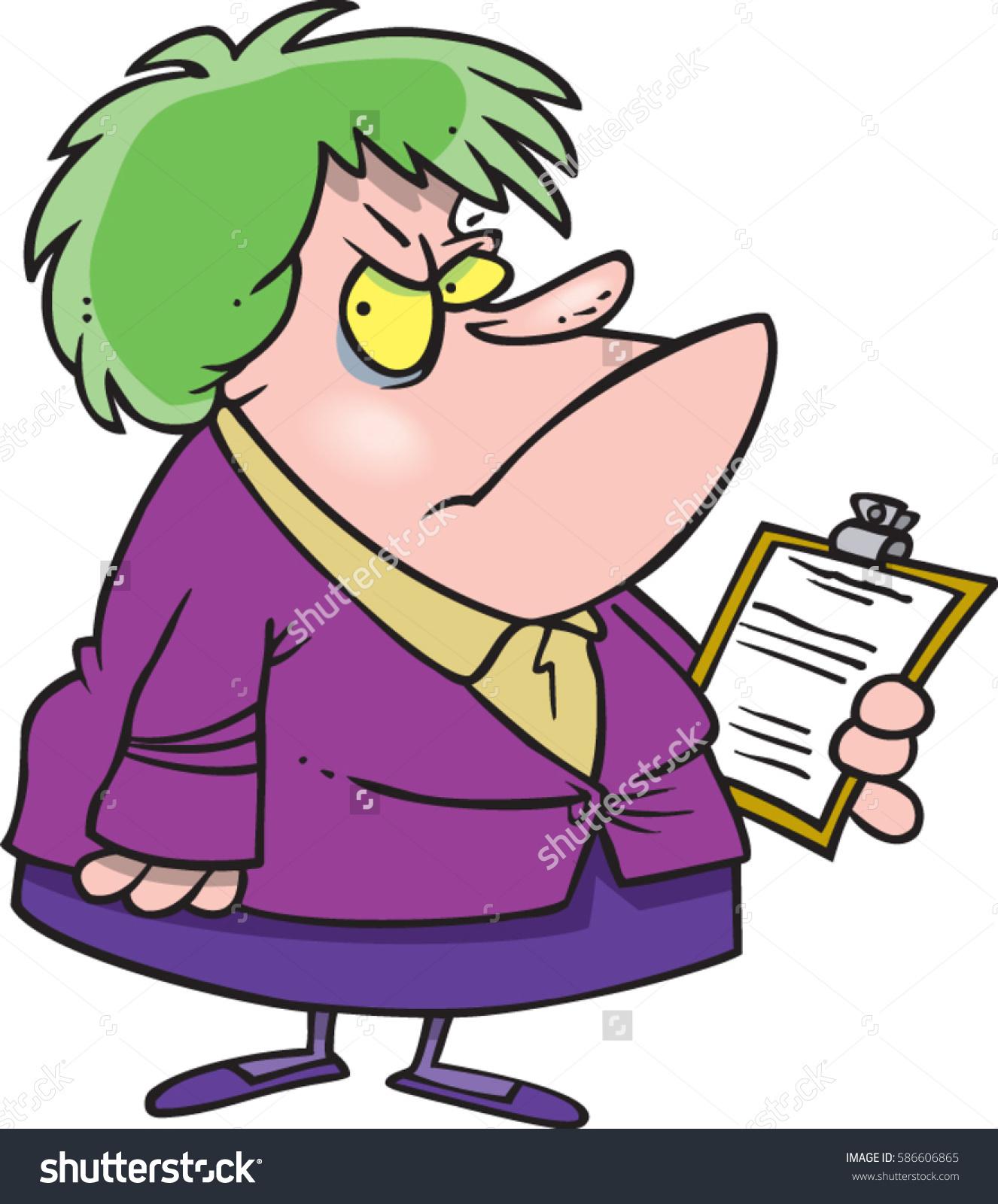 Cartoon Scary Lady Boss Stock Vector 586606865.