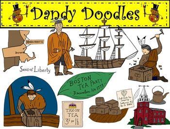 Boston Tea Party Clip Art by Dandy Doodles.