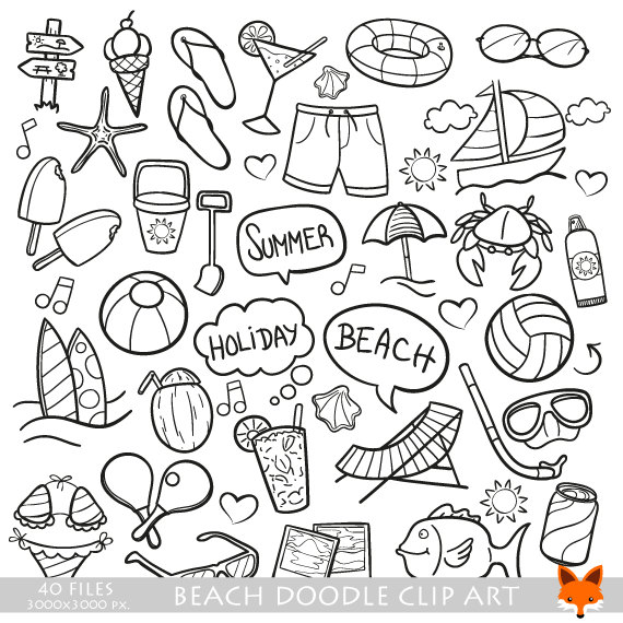 Beach Day Holidays Travel Doodle Icons Clipart Scrapbook Set.