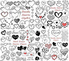 BIG SET of Doodle Hearts Clipart! Heart clip art, Digital.