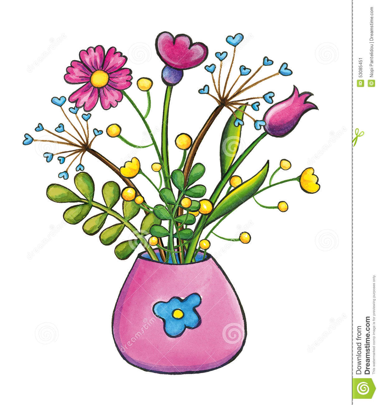 Bouquet Of Flowers Hand Drawn Clip Art Illustration Stock.