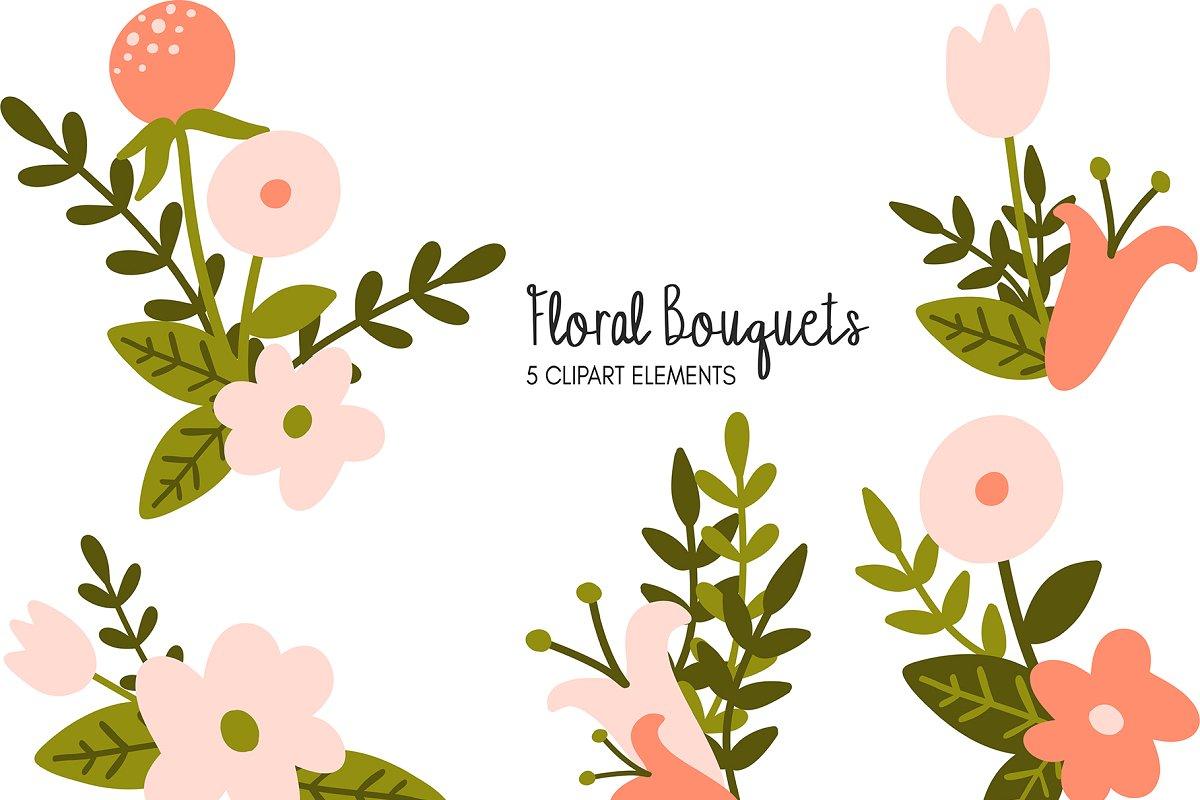 Floral Bouquets Clipart Bundle.