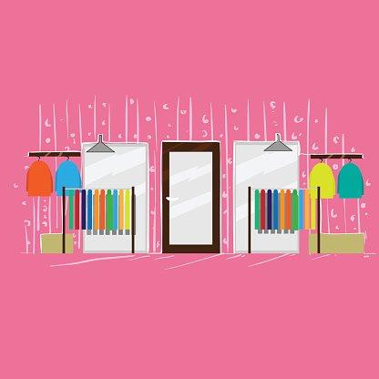 Bekleidungsgeschäft Fashion Boutique innen rosa Shop Clipart.