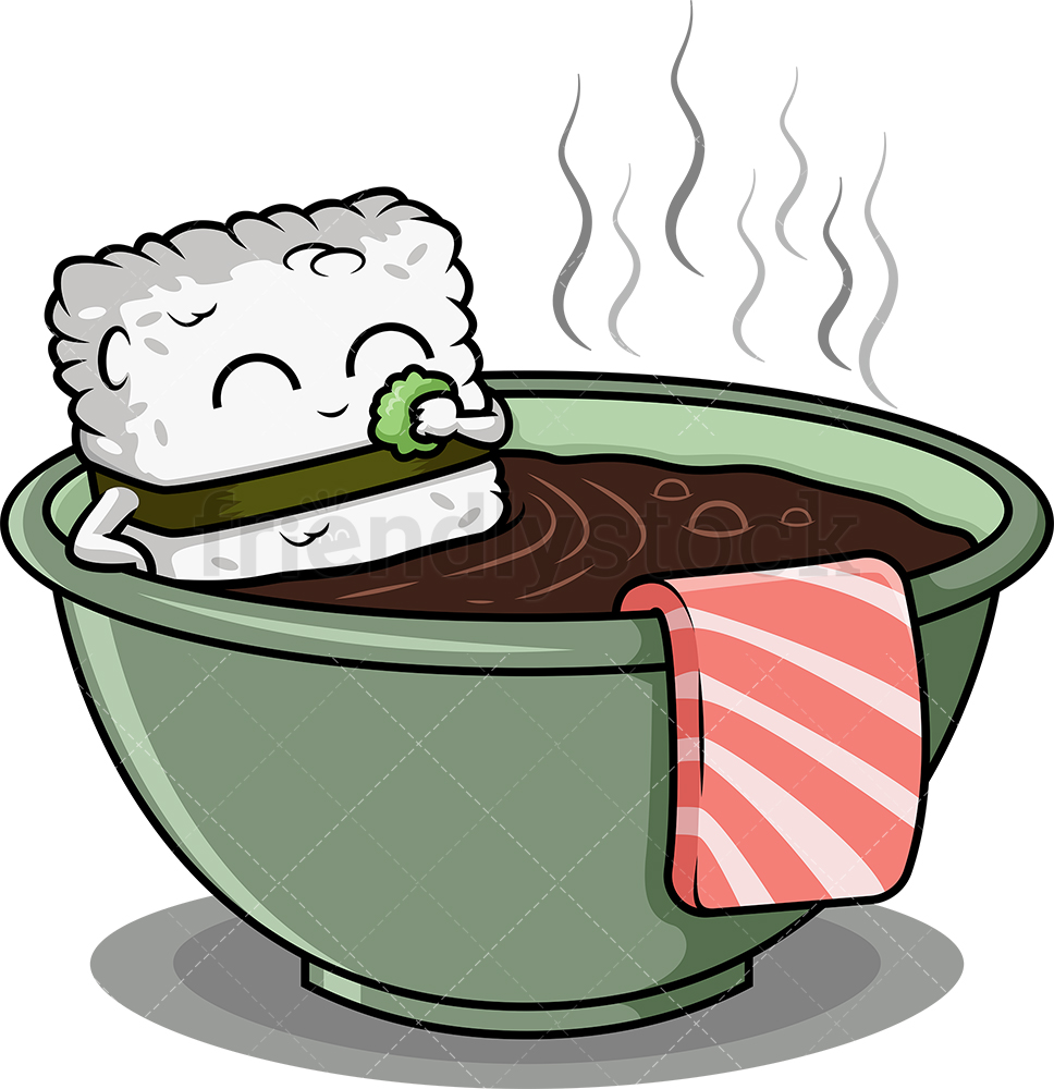 Sushi Character Bathing In Soup Bowl.