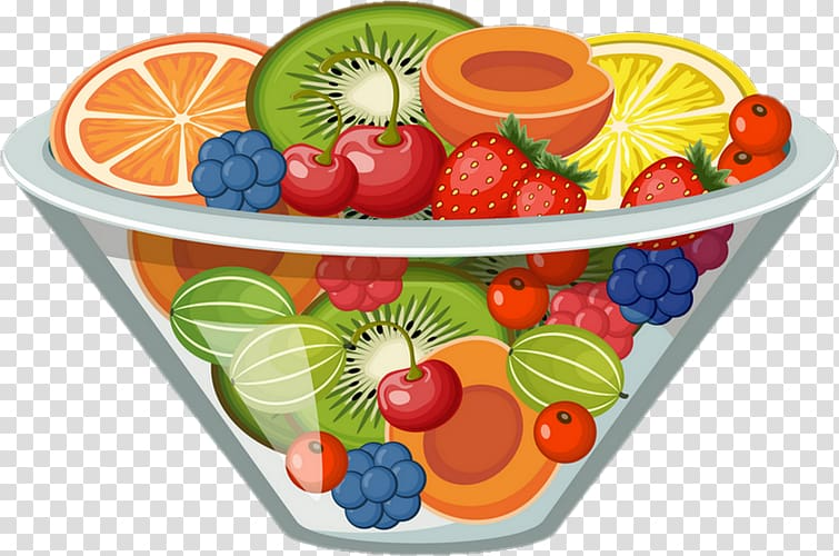 Bowl of fruit illustration, Smoothie Fruit salad , fruit.