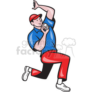 cricket bowler bowling side clipart. Royalty.