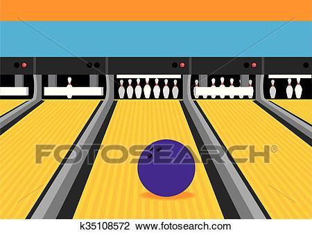 Bowling Ball on Lane Illustration Clipart.