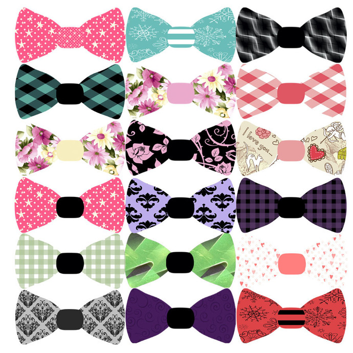 Clipart, Bowtie Clipart, Patterned Bow Tie, Party Printables, Invitations,  Scrapbook, Graphics Digital Download.