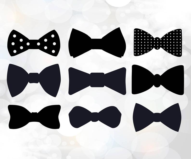 Bow Tie Clipart, Bowtie Cuttable Designs SVG, DXF, EPS, Bows silhouette  bundle, Gift bow Svg, bowtie svg, Bow Tie svg digital files, tie svg.