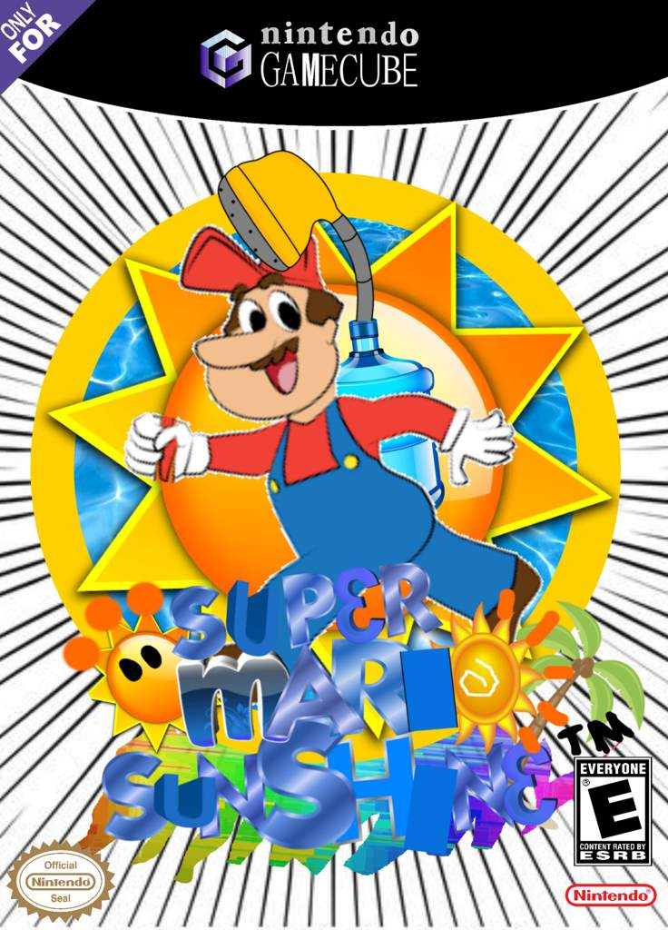 I recreated the Super Mario Sunshine box art using only.