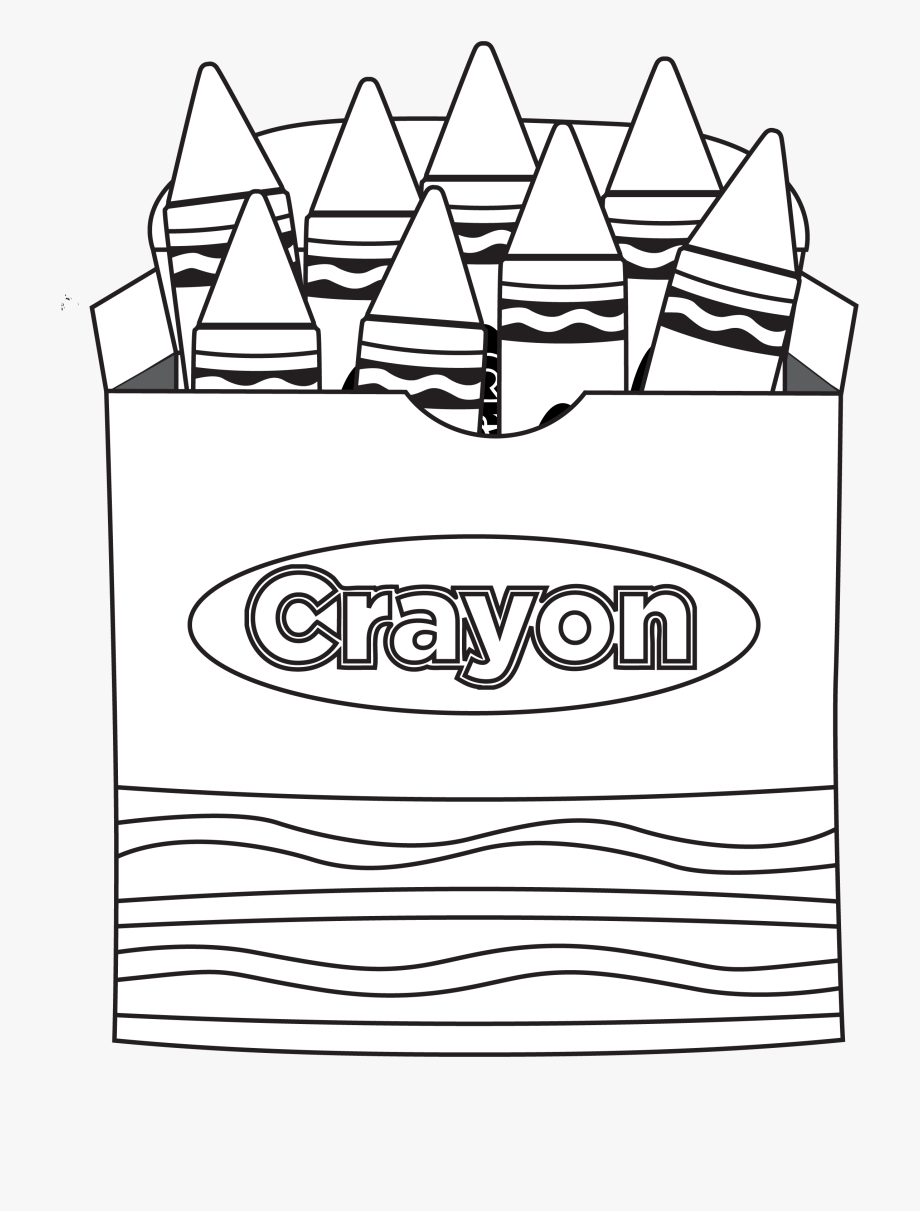 Box Of Crayons Clipart Black And White.