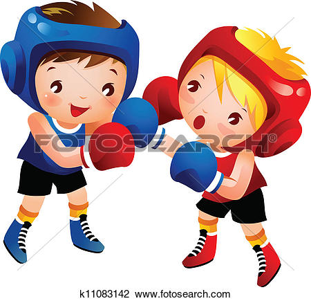 Clipart of Boy and Girl Boxing k11083142.