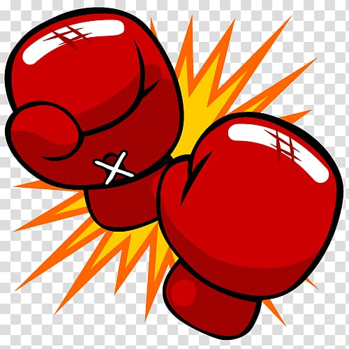 Pair of red handgloves , Boxing glove Kickboxing Cartoon Punch.