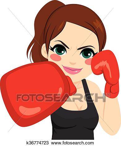 Woman Boxing Gloves Clipart.
