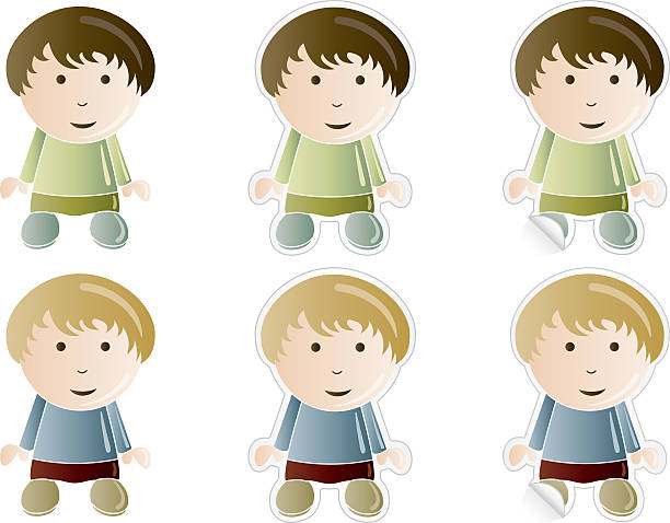 Silhouette Of A Cute 10 Year Old Boys Clip Art, Vector Images.