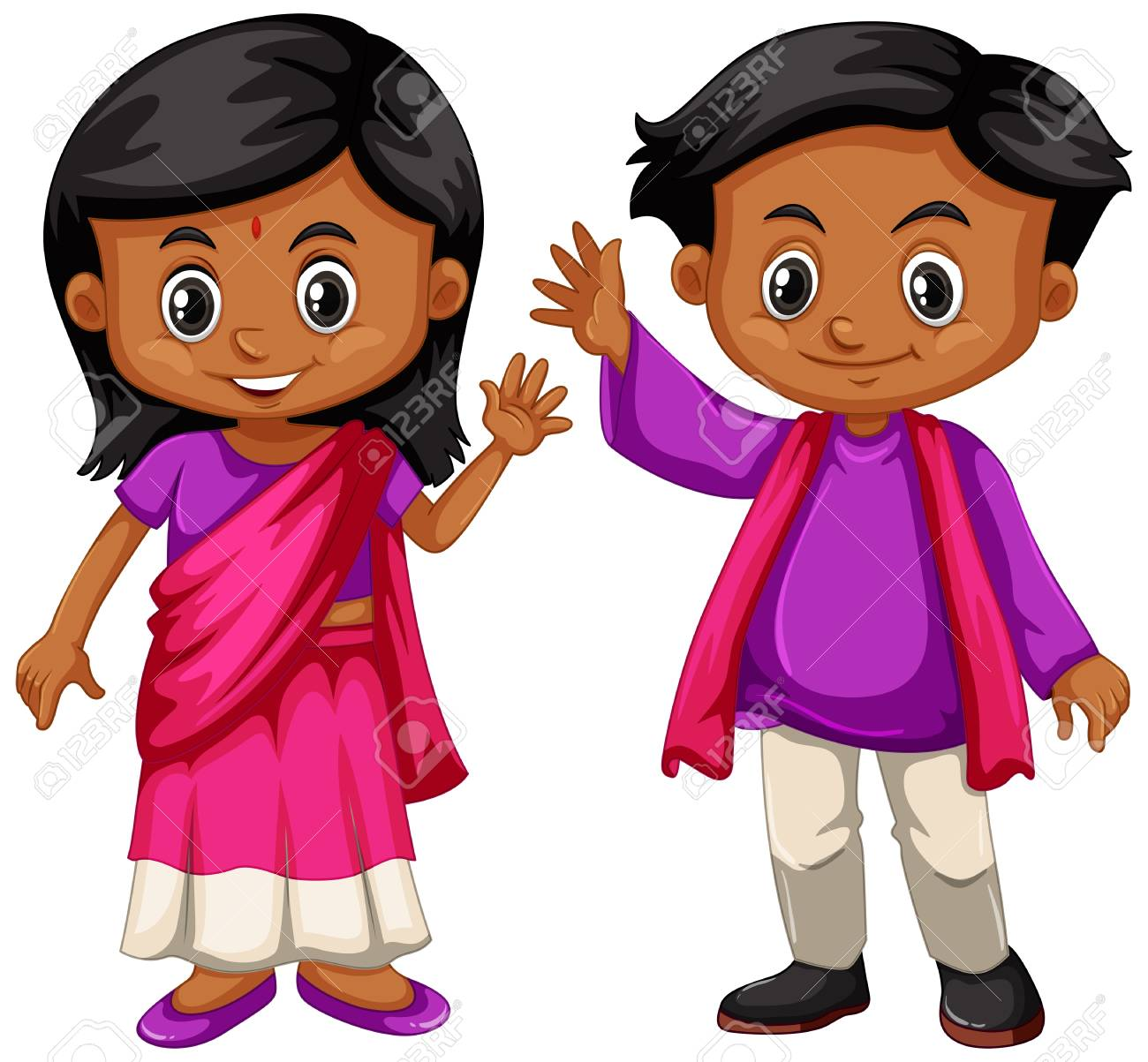Indian boy and girl smiling illustration.