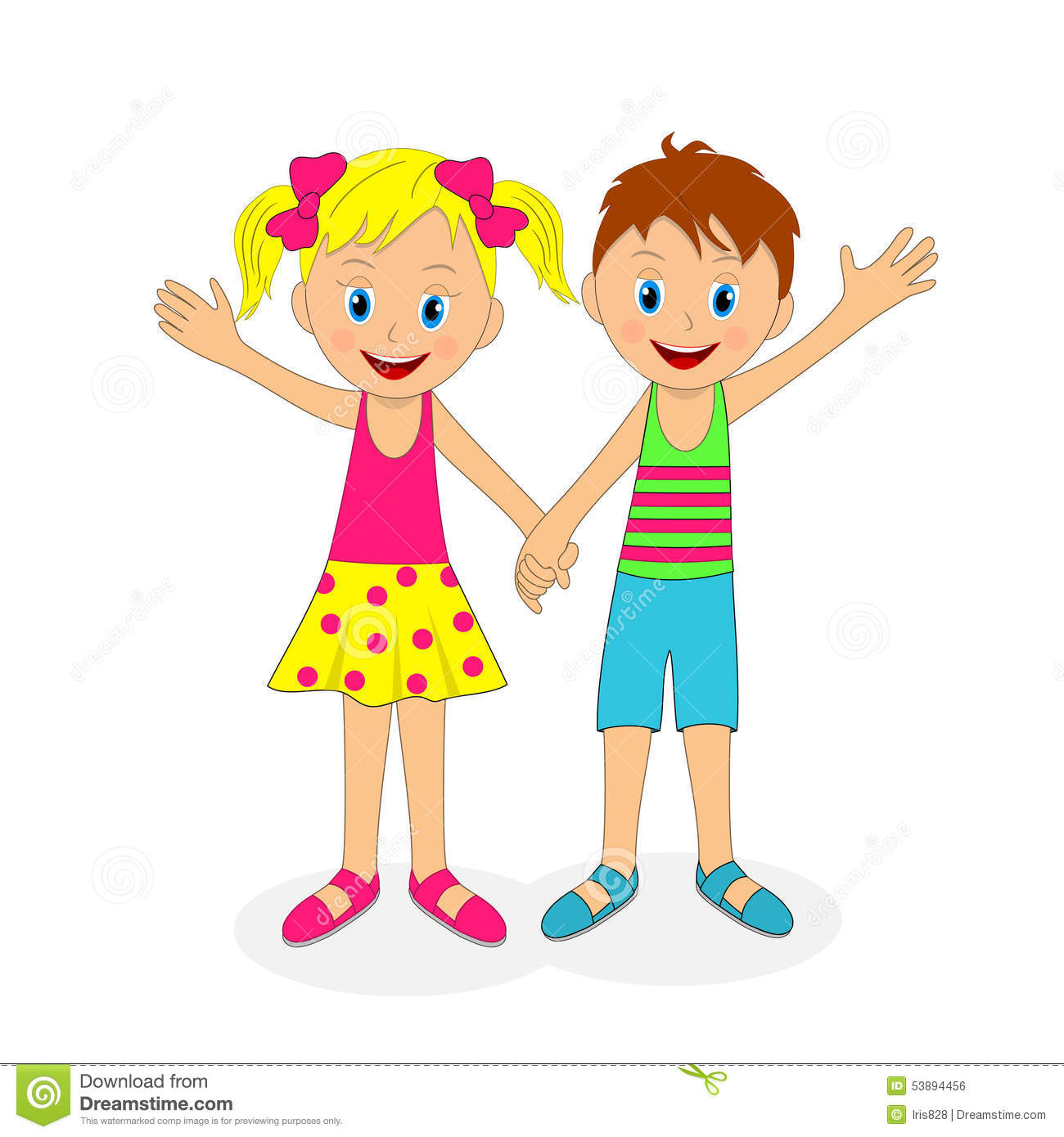 Girl And Boy Holding Hands Clipart.