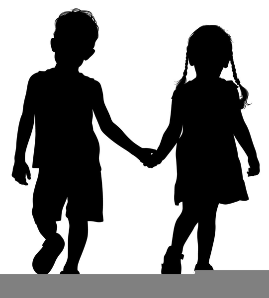 Clipart Of A Boy And Girl Holding Hands.