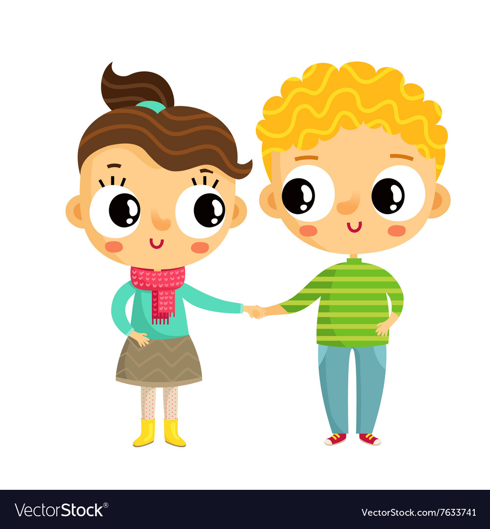 Cartoon girl and boy holding hands cute characters.