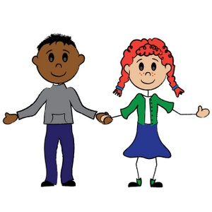 Cartoon stick figure boy and girl holding hands.
