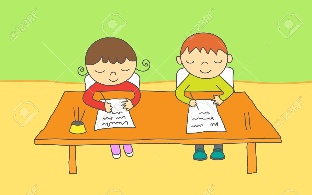 Boy Writing at Desk Clipart (77+).