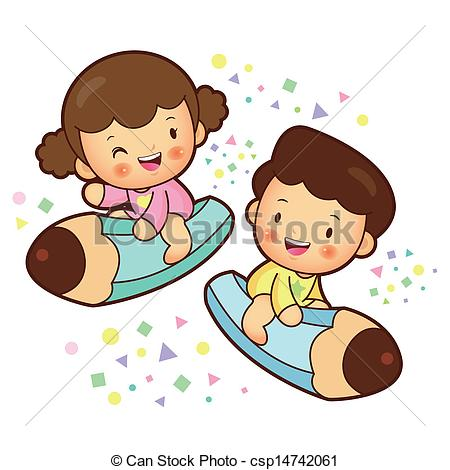 Boy And Girl Writing Clipart.