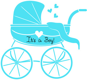 Baby Boy Clipart Image: Baby Shower Graphic of Stroller or Baby.