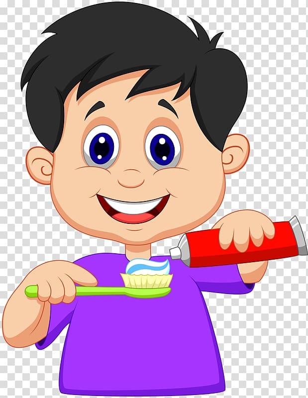 Boy putting toothpaste on toothbrush , Tooth brushing Teeth.