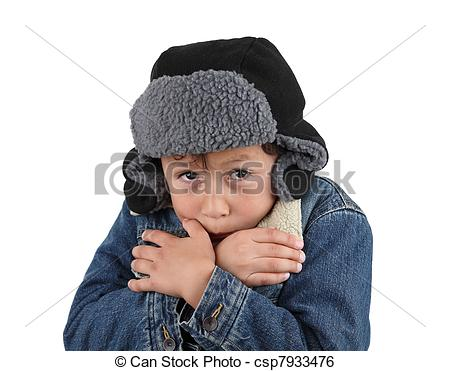 Stock Image of Freezing cold young boy.